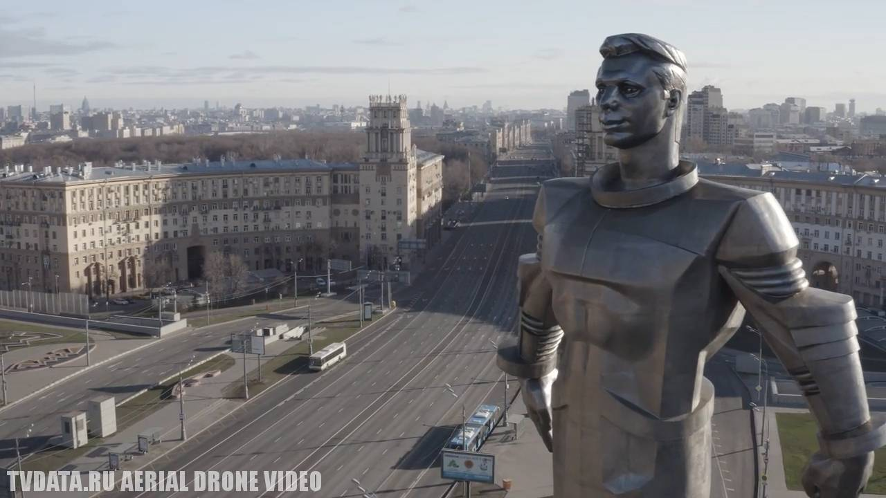 Coronavirus Covid-19 Outbreak in Moscow aerial drone flying